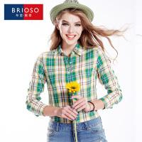 BRIOSO 2017春装新款女式纯棉长袖格子衬衫 基础百搭韩版时尚修身长袖衬衫 大码女装衬衣 WE2895