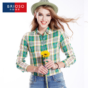 BRIOSO 女士纯棉格子衬衫 秋装新款韩版百搭时尚修身长袖衬衫 大码基础女装衬衣 WE2895