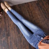 牛仔裤女2018新款春秋新款高腰弹力紧身韩版显瘦小脚学生铅笔长裤