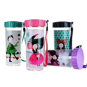 特百惠唯美花童/流光溢彩  430ml创意便携防漏夏季塑料水杯子新品