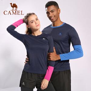 camel骆驼瑜伽健身服 男女紧身弹力速干衣运动跑步长袖T恤