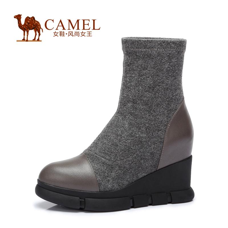 Camel/骆驼女鞋 时尚 小牛皮弹力布圆头内增高高跟套筒女靴秋季焕新 全场满59元包邮