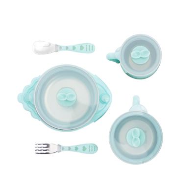网易严选 儿童餐具喂养礼盒(5件套装) 保温碗,沙拉碗,牛奶杯,叉勺套装,应有尽有