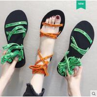 韩国ulzzang个性软妹交叉绑带凉鞋女原宿风百搭潮款平底罗马沙滩鞋潮