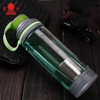 600ml过滤双口玻璃杯玻璃杯单层大容量便携户外运动水杯