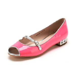 【3折到手价137.7元】D:Fuse/迪芙斯春新款牛皮平跟鱼嘴搭扣浅口单鞋女鞋410056963