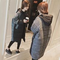 孕妇冬装棉衣2019冬季中长款宽松棉袄潮妈格子外套