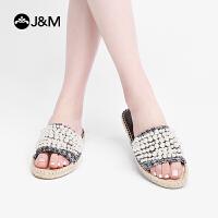 jm快乐玛丽2019夏季新款欧美休闲时装凉拖珍珠套脚平底女鞋子
