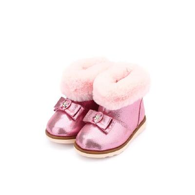 【159元任选2双】迪士尼Disney童鞋男童女童冬季加绒靴子休闲鞋 HS0698 HS1082 【开学季:限时159元2双】