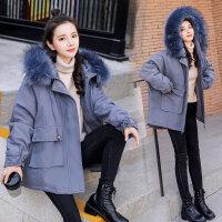 冬款加厚外套宽松大码孕妇加绒棉衣冬季新款韩版大毛领棉衣