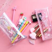 创意流沙入油大容量笔袋可爱卡通文具盒少女心铅笔盒学生文具