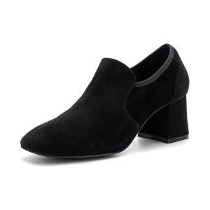 St&Sat/星期六单鞋女羊反绒粗高跟深口女鞋SS73112731