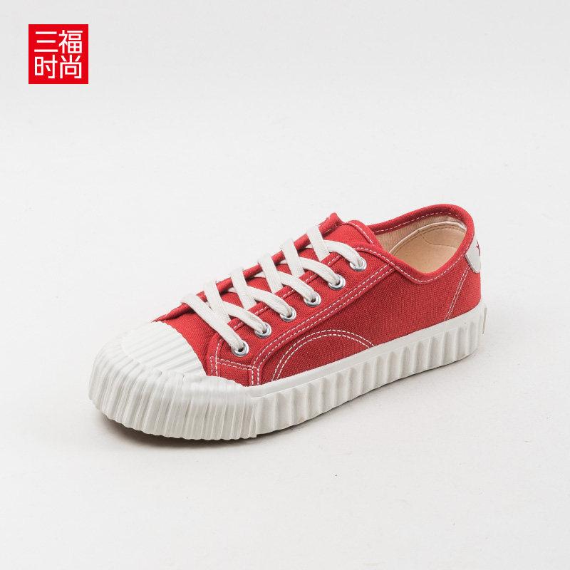 2019秋冬学生帆布鞋女韩版圆头饼干鞋复古休闲女鞋板鞋