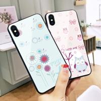 快乐猫头鹰苹果6plus手机壳X韩国新款7plus玻璃壳iphone6卡通xr个性创意8情侣6s可爱女7全包xs ma