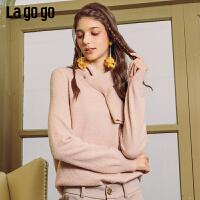 Lagogo/拉谷谷2019新款时尚领结套头针织衫女ICMM43XC11
