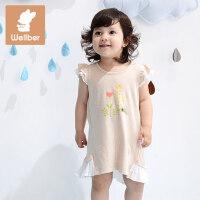 威尔贝鲁 简约纯棉女童背心裙 1-3岁宝宝长袖连衣裙 春秋婴儿童装