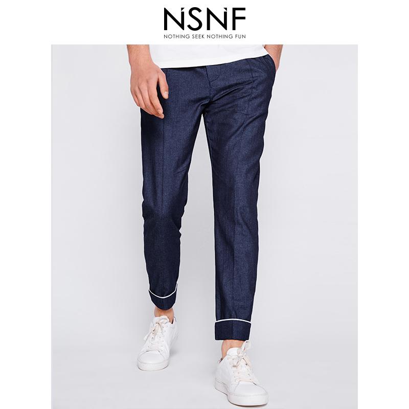 NSNF简约牛仔风格蓝色修身九分裤 休闲裤 2017年男士新款牛仔裤  潮牌男裤 当当自营 高品质设计师潮牌
