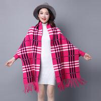 2018新款秋冬披肩围巾两用斗篷有袖流苏双面纯色蝙蝠袖百搭针织衫 玫