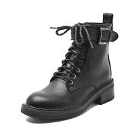 马丁靴女2019百搭英伦风帅气靴子秋冬季黑色机车靴网红短靴女 黑色