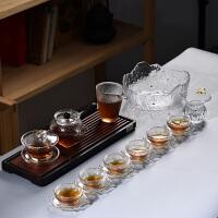 家用简约锤纹泡茶器透明茶杯子茶壶加厚玻璃功夫茶具套装
