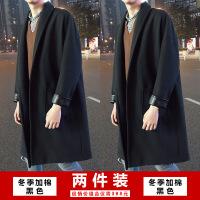 秋冬季2018新款韩版风衣男士中长款宽松呢子大衣毛呢加厚情侣外套DLSY-FY384 +