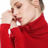 网红秋冬新高领衫毛衣紧身堆堆领打底衫女修身羊毛针织衫加厚过膝韩版韩版女装冬季中长套头耳边中长款