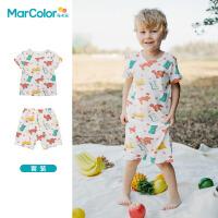 马卡乐童装2021夏季新款男女童全棉内衣套装满印图案套装