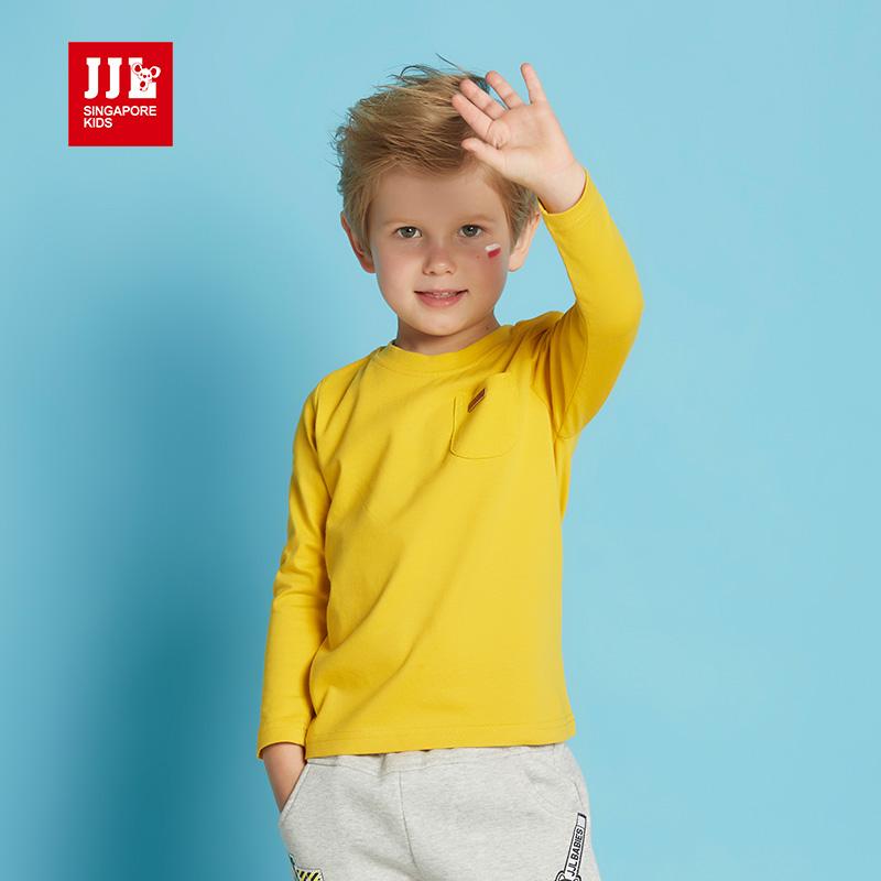 季季乐男童T恤长袖春秋新款中小童圆领纯棉长袖纯色上衣童BQT63003 GQT63011季季乐品质好物