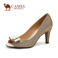 Camel骆驼女鞋 时尚华美 鱼嘴酒杯跟/羊皮蝴蝶花饰春夏单鞋