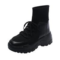 运动鞋女秋季网红袜子鞋韩版潮流内增高厚底百搭高帮鞋子 黑色 尺码问题咨询客服
