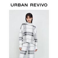 UR2020冬季新品女装英伦风格子休闲宽松针织衫WG46S9BX2000