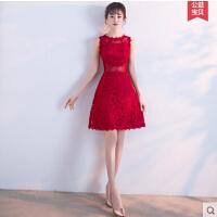 敬酒服新娘 新款红色时尚短款结婚小晚礼服女韩版公主甜美