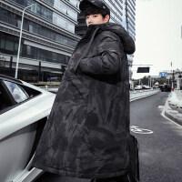 羽绒服男潮中长款冬季加厚2018新款韩版帅气服装男士过膝迷彩外套简约时尚潮流保暖修身款