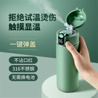 简约316不锈钢保温杯大容量儿童带吸管杯子学生便携式智能显温水杯高档(送杯刷、吸管刷)