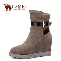 Camel/骆驼女鞋 休闲时尚 二层牛�S圆头 高跟内增高拉链中筒女靴