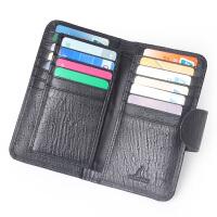 Yvogne韵歌鸵鸟纹牛皮真皮长款卡包长款按钮商务名片包卡夹卡片包银行卡套
