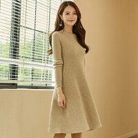 丝纯山羊绒衫女装中长款冬季加厚针织裙圆领套头毛衣裙