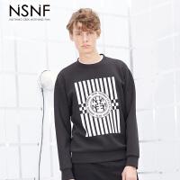 NSNF竹节棉字母条纹印花圆领黑色套头卫衣 2017秋冬新款