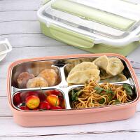 学生饭盒 创意304不锈钢方形餐具2020年新款可微波炉加水保温分格饭盒中式学生便携便当盒
