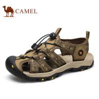 camel骆驼男鞋凉鞋夏季 包头户外凉鞋男牛皮沙滩鞋透气休闲鞋