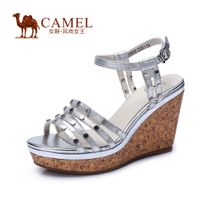 Camel骆驼女鞋 时尚清凉 羊皮圆形金属配饰腕带搭扣高跟女凉鞋