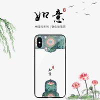 碧玉如意荷花苹果8手机壳xs max中国风iphone7plus玻璃壳6s文艺新款xr全包6plus个性创意7潮款情侣