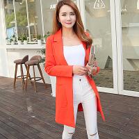 小西装女外套中长款2017春装新款韩版女装修身显瘦长袖西服女大码 XS 大口袋西服