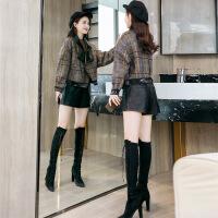 毛呢外套女韩版2018新款流行短款呢子气质宽松千鸟格小个子大衣G