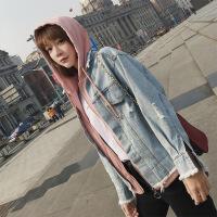 Re新女士外套2018秋新款时尚潮流个性百搭超火女装假两件连帽牛仔外套N2B 浅蓝色