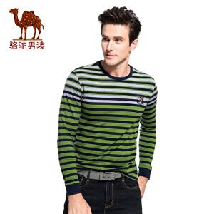 骆驼男装 2017秋季新款男士时尚休闲条纹圆领T恤精致袖标男