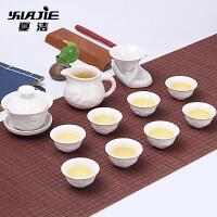玻璃茶壶盖碗红茶简约青花白瓷茶具套装家用陶瓷茶杯套装