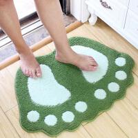 可爱大脚丫吸水地垫门垫浴室防滑垫卫浴垫子卡通卧室卫生间脚垫 绿色