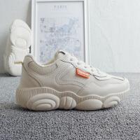 小熊鞋女鞋内增高34小码米色隐形增高6cm韩国网红厚底网面