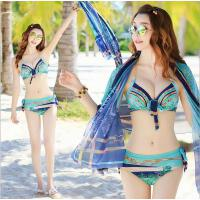 HSL 比基尼泳衣女三件套小胸聚拢性感大胸钢托韩国情侣温泉bikini罩衫